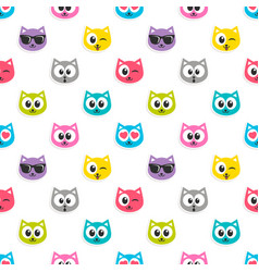 pattern with colorful cat heads vector image