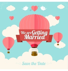 Pink hotair ballons fly with clouds vector
