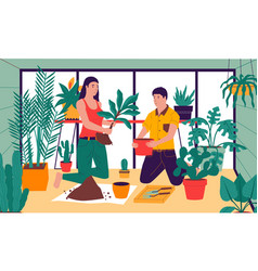 planting at home friends taking care of vector image