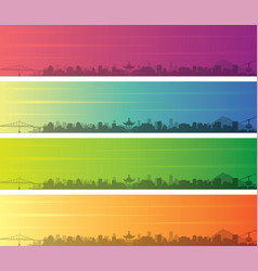 Portland oregon multiple color gradient skyline vector