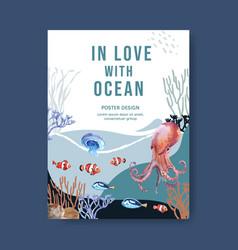 Poster design with sealife-theme creative octopus vector