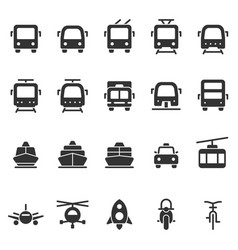 Public transport shape style icon set vector