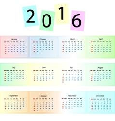 Rainbow calendar 2016 vector