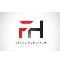 red and black fh f h letter logo design creative vector image