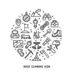 rock climbing sign round design template thin line vector image