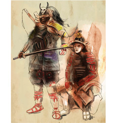 samurais an hand drawn freehand drawing vector image