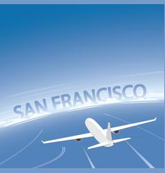 San francisco skyline flight destination vector