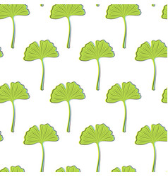 seamless texture with green ginkgo leaves on a vector image