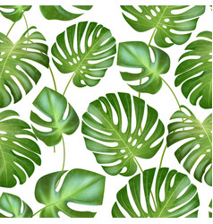 Seamless tropical leaves pattern strong vector