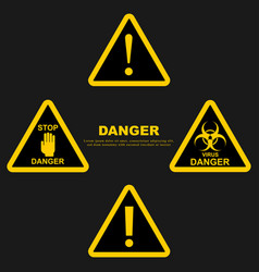 set danger sign attention sign exclamation hazard vector image
