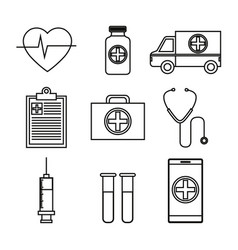 Set medical isolated icons vector