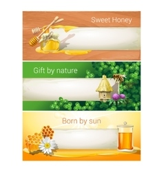 Set of sweet honeyed banners vector