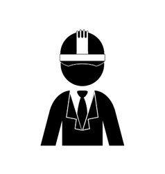 Silhouette half body engineer with helmet vector