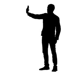 silhouettes man taking selfie with smartphone on vector image