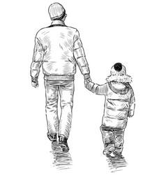 sketch a man with his little child going for a vector image