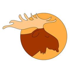 sleeping moose on white background vector image