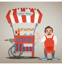 Street food concept with hot dog cart and seller vector