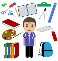 Student boy and school utensils vector
