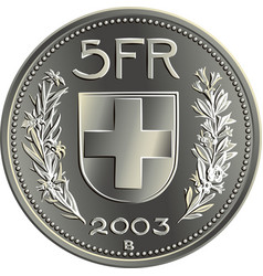 Swiss money 5 francs silver coin reverse vector