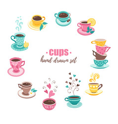 tea cups collection vector image