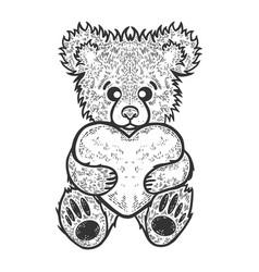 teddy bear toy heart sketch vector image