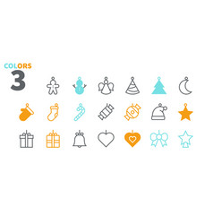 toys on the christmas tree pixel perfect icons vector image