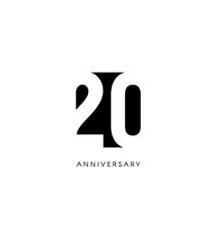 Twenty anniversary minimalistic logo twentieth vector