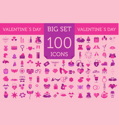 Valentines day icon set romantic design elements vector