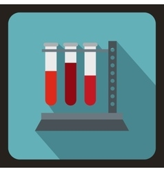 Vial for blood collection icon flat style vector image