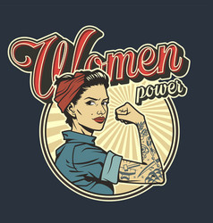 vintage colorful woman power badge vector image