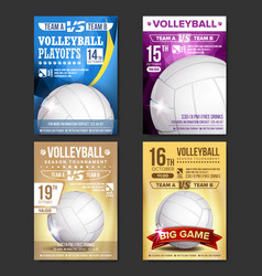 Volleyball poster set design for sport bar vector