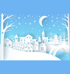 winter landscape blue white vector image