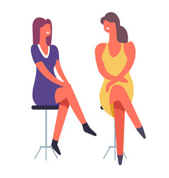 woman friends chatting girls spending happy time vector image
