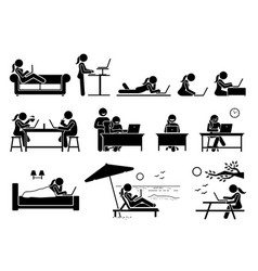 woman using computer on different postures poses vector image