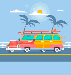Woodie surf wagon vector