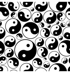 Yin and yang symbols seamless black and white vector