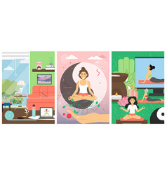 yoga classes for women poster template set vector image