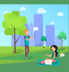 young people spend time in city park socializing vector image