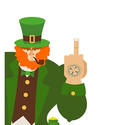 Angry leprechaun shows Bad elf with smoking vector image