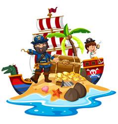 pirate and ship at the treasure island vector image vector image