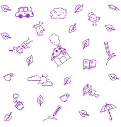 Purple house garden doodle art vector image vector image