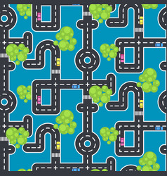 top view roads and streets seamless blue vector image vector image