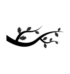tree branch icon with leaves on white background vector image