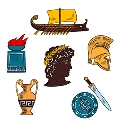 Art and history of ancient Greece colorful sketch vector image
