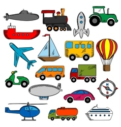 Aviation transportation and ship icons vector image vector image