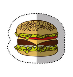 color hamburger fast food icon vector image