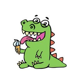 cute dinosaur eating ice cream vector image vector image