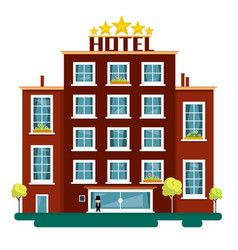 flat design hotel isolated on white background vector image vector image
