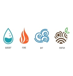 Four elements flat style symbols Water fire air vector image