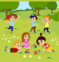 kids playing outside on vector image